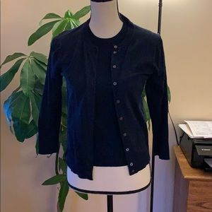 J Crew Cardigan & Shell 2 Pc Set Navy Blue Small